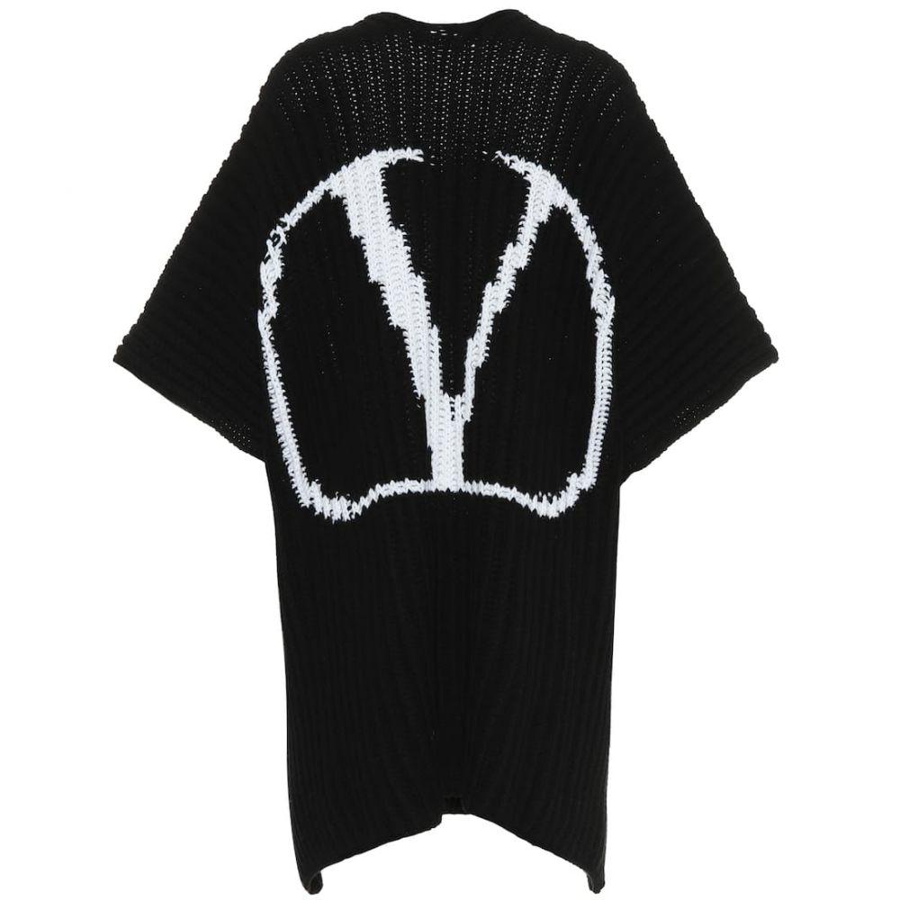 ヴァレンティノ Valentino レディース ポンチョ アウター【VLOGO wool cape】Nero/Avorio