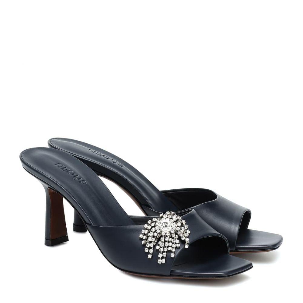 ネオアス Neous レディース サンダル・ミュール シューズ・靴【Embellished leather sandals】Navy