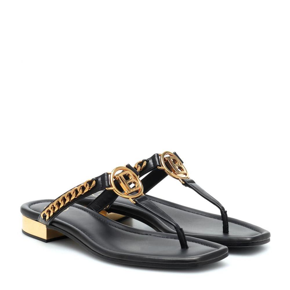 バルマン Balmain レディース サンダル・ミュール シューズ・靴【B leather sandals】Noir