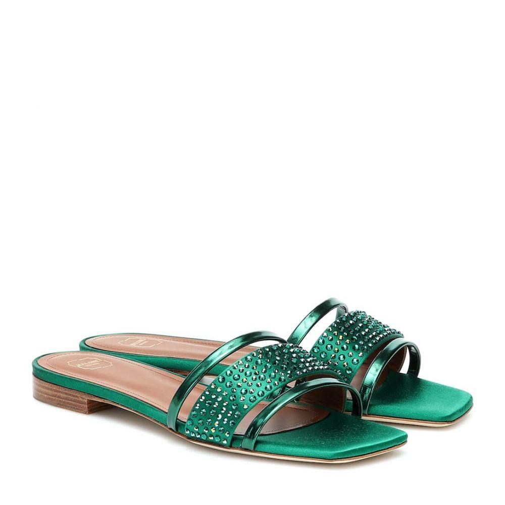 マローンスリアーズ Malone Souliers レディース サンダル・ミュール シューズ・靴【Rosa satin and leather sandals】Emerald Green
