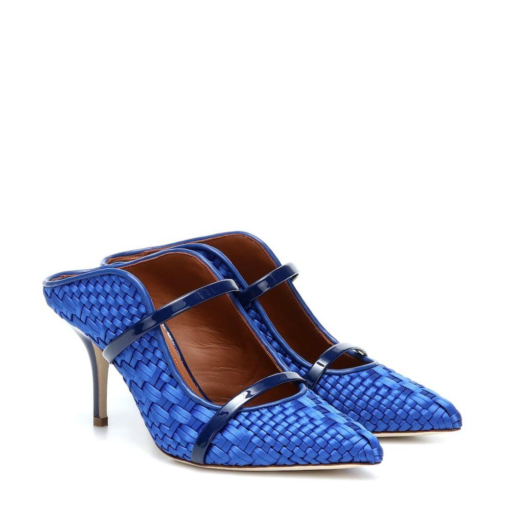 マローンスリアーズ Malone Souliers レディース サンダル・ミュール シューズ・靴【Maureen 70 woven satin mules】Royal Blue