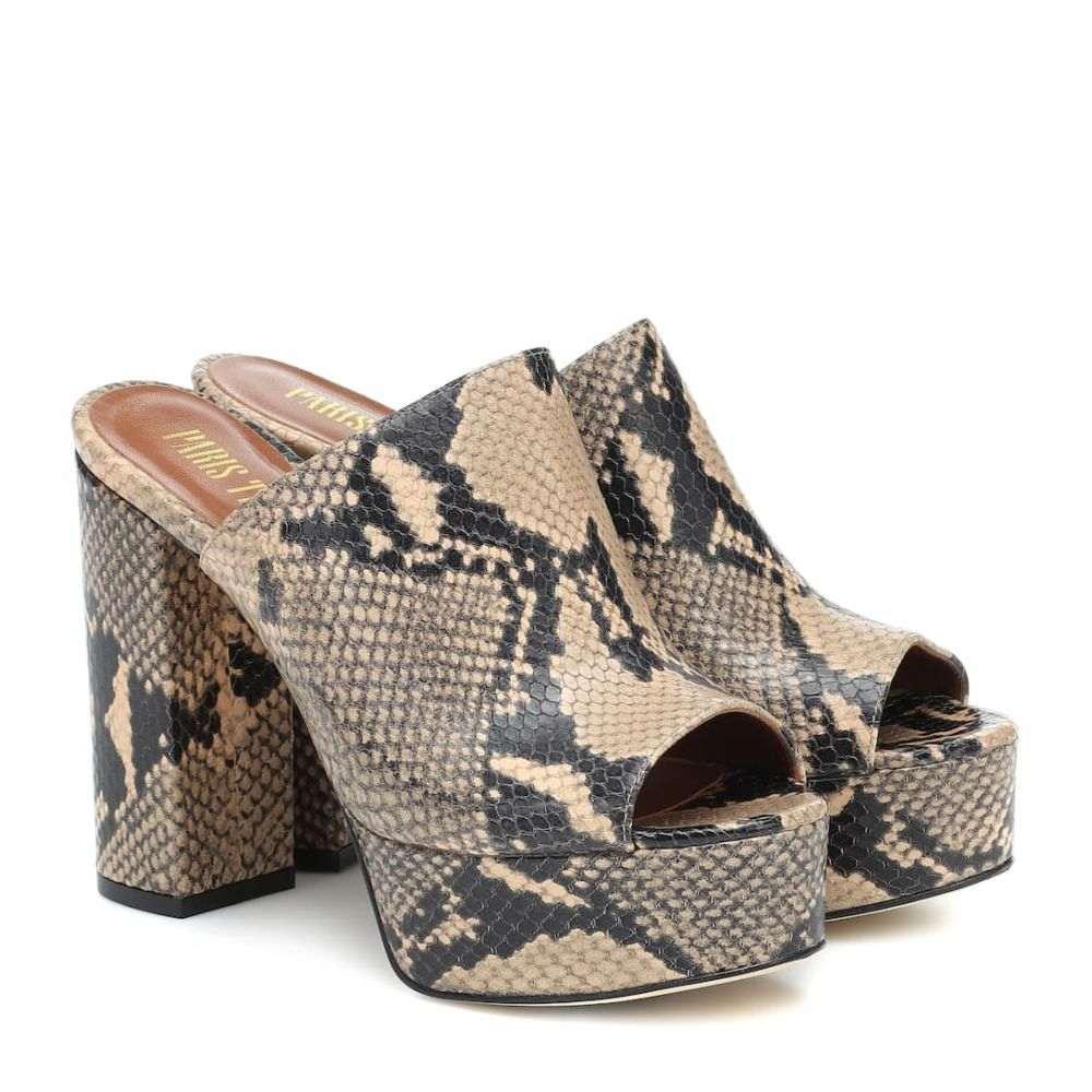 パリ テキサス Paris Texas レディース サンダル・ミュール シューズ・靴【Snake-effect leather platform mules】Beige