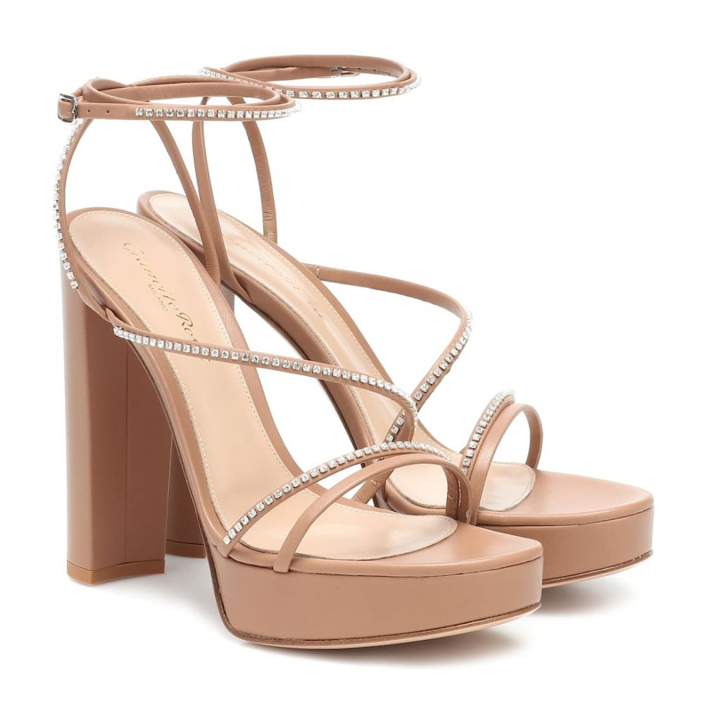ジャンヴィト ロッシ Gianvito Rossi レディース サンダル・ミュール シューズ・靴【Leather plateau sandals】Praline