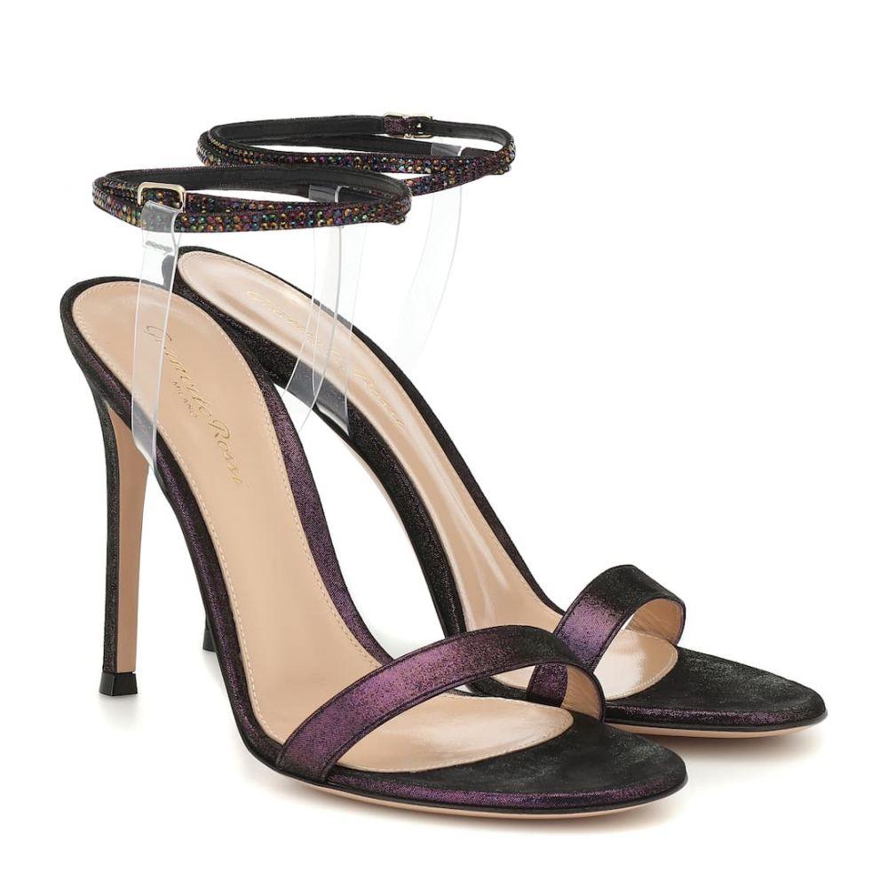 ジャンヴィト ロッシ Gianvito Rossi レディース サンダル・ミュール シューズ・靴【Embellished 105 suede sandals】Black/Transparent