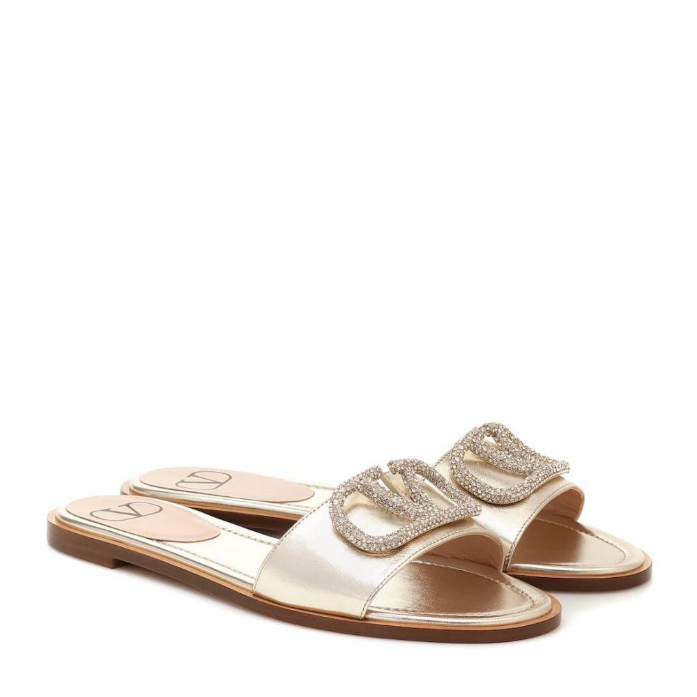 ヴァレンティノ Valentino レディース サンダル・ミュール シューズ・靴【Garavani VLOGO Glow metallic leather sandals】Platino/Crystal