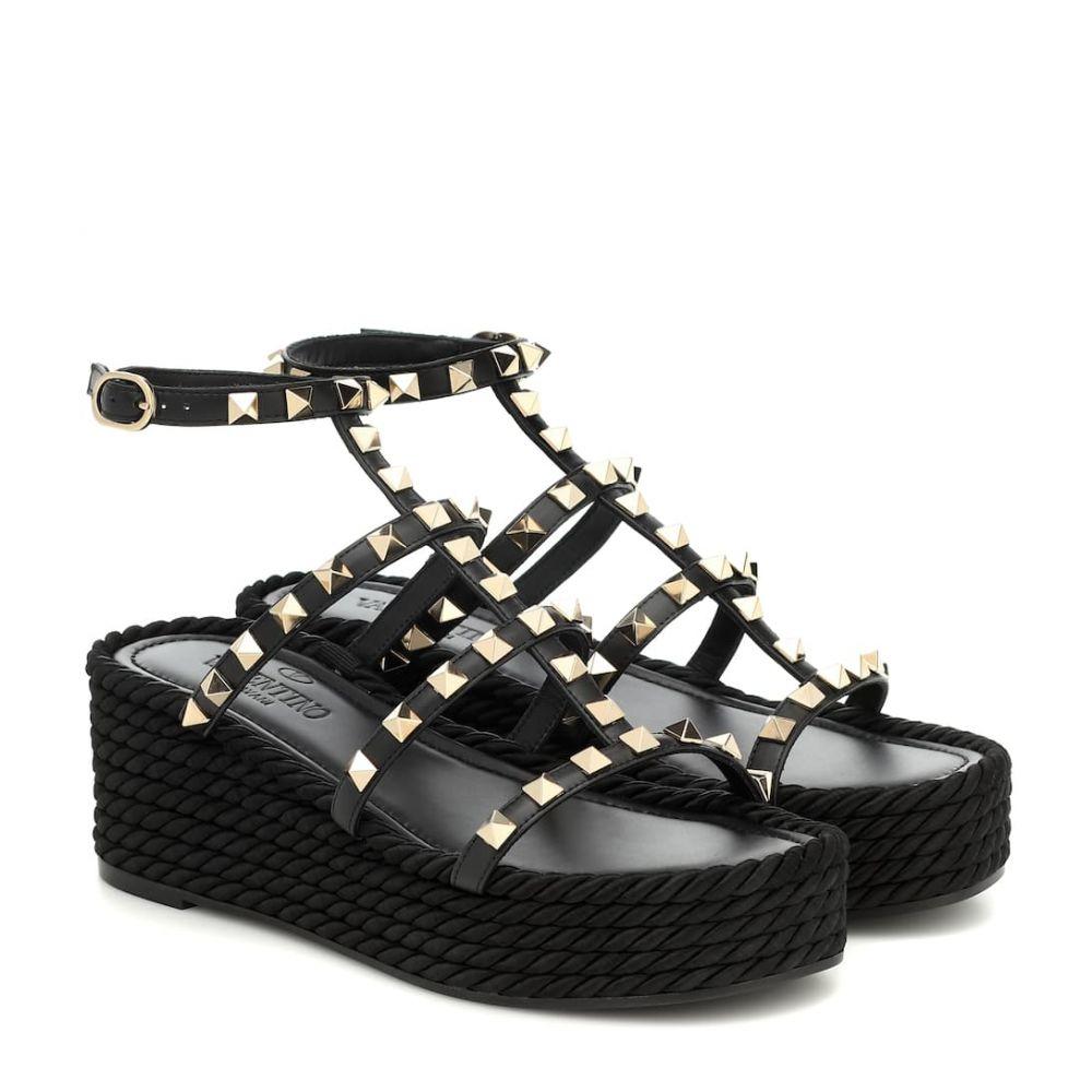 ヴァレンティノ Valentino レディース サンダル・ミュール ウェッジソール シューズ・靴【Garavani Rockstud Torchon leather wedge sandals】Nero
