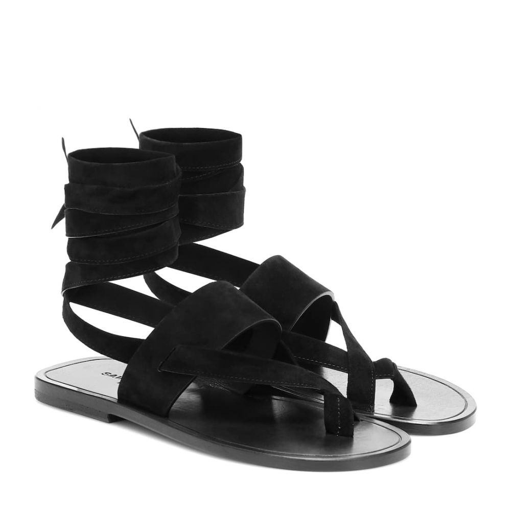イヴ サンローラン Saint Laurent レディース サンダル・ミュール シューズ・靴【Culver suede sandals】Noir