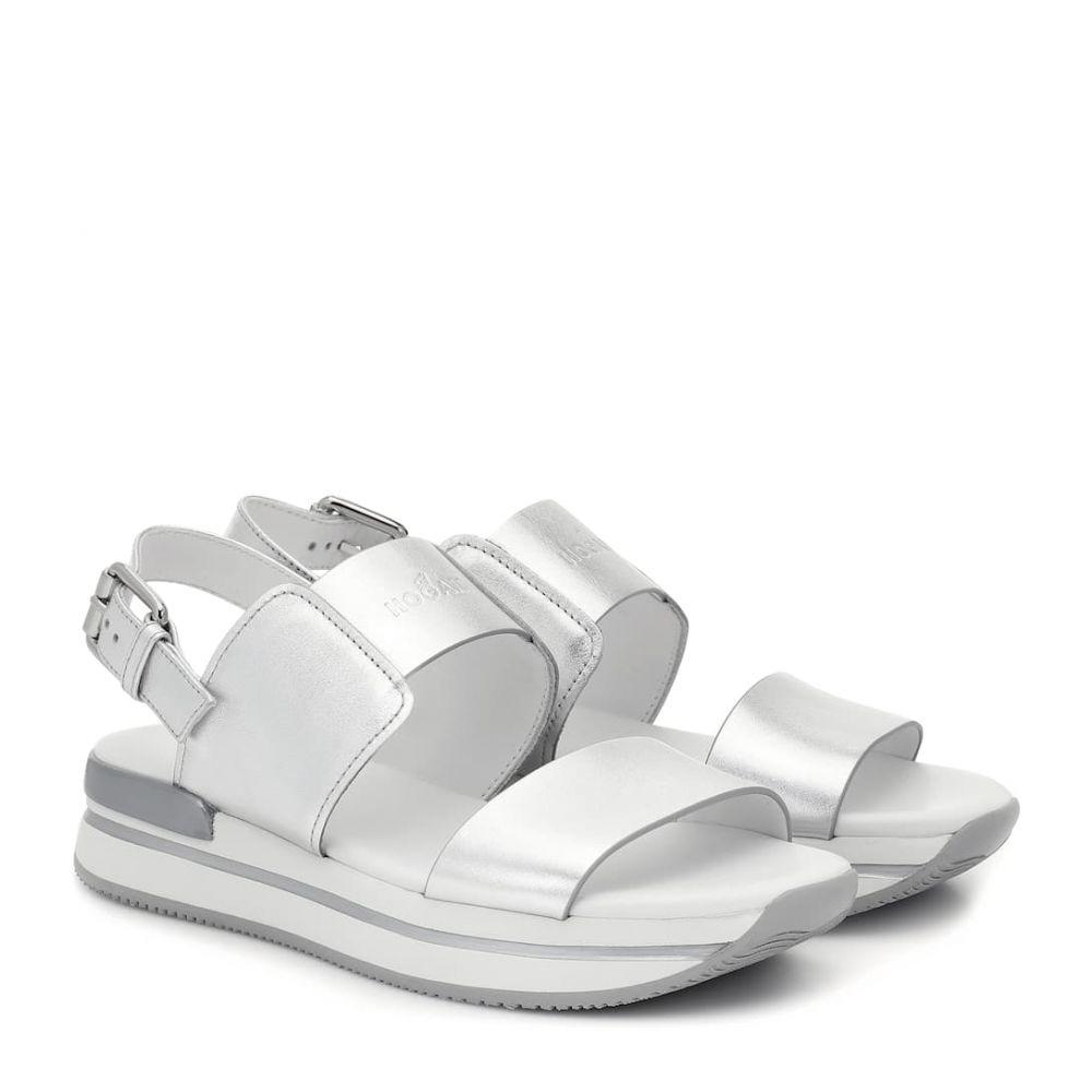 ホーガン Hogan レディース サンダル・ミュール シューズ・靴【H257 metallic leather sandals】Argento