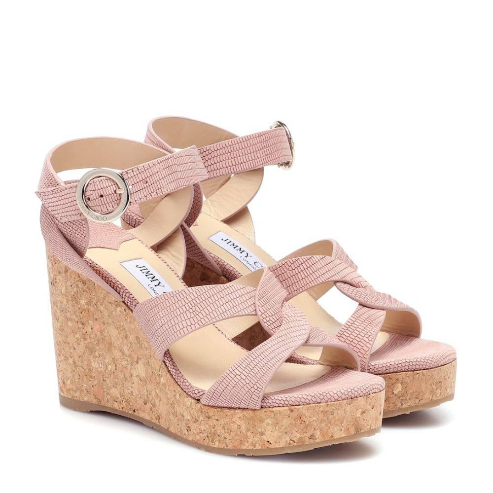 ジミー チュウ Jimmy Choo レディース サンダル・ミュール ウェッジソール シューズ・靴【Aleili 100 leather wedge sandals】Blush