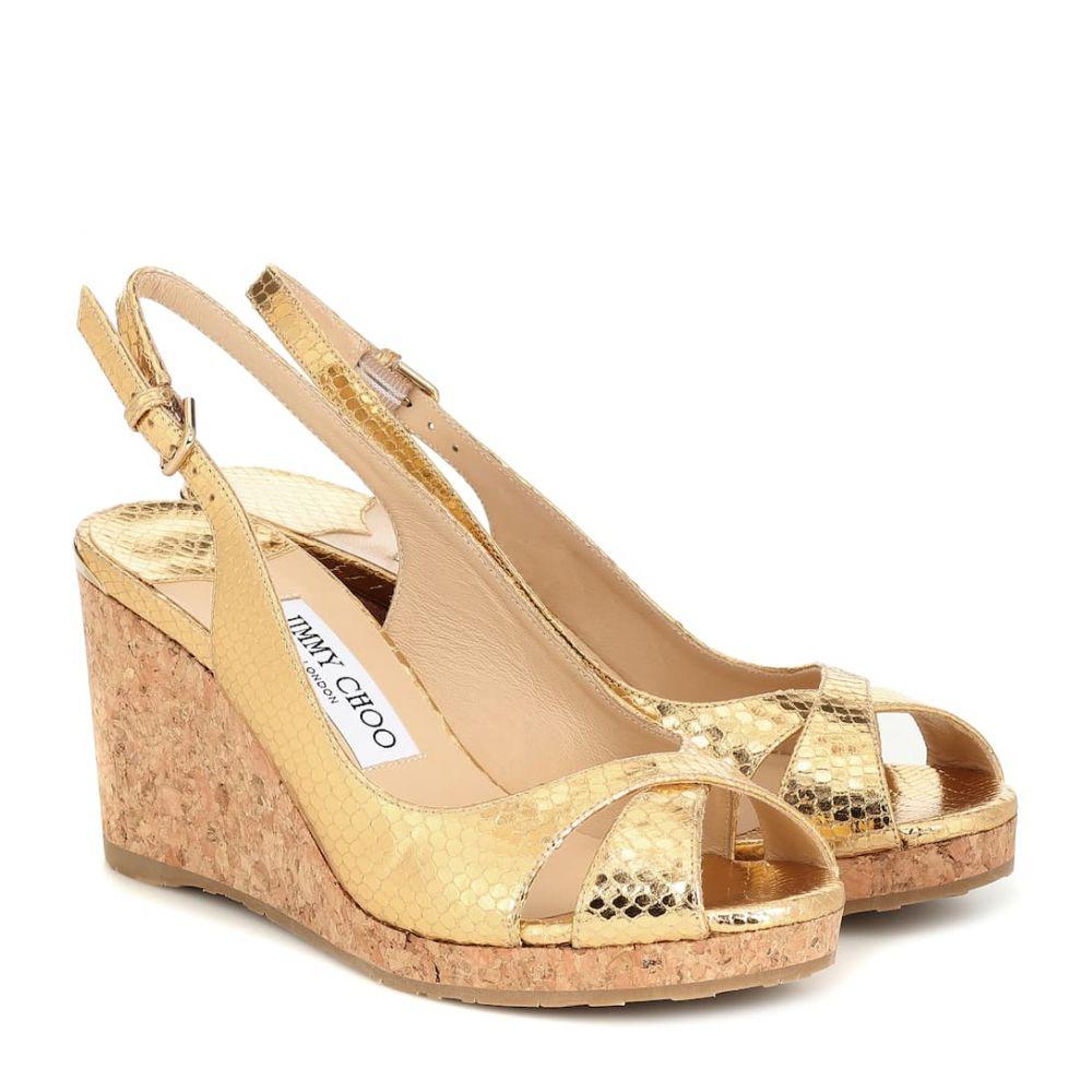 ジミー チュウ Jimmy Choo レディース サンダル・ミュール ウェッジソール シューズ・靴【Amely 80 leather wedge sandals】Gold