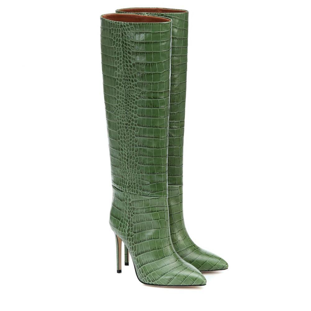 パリ テキサス Paris Texas レディース ブーツ シューズ・靴【Croc-effect leather boots】Verde