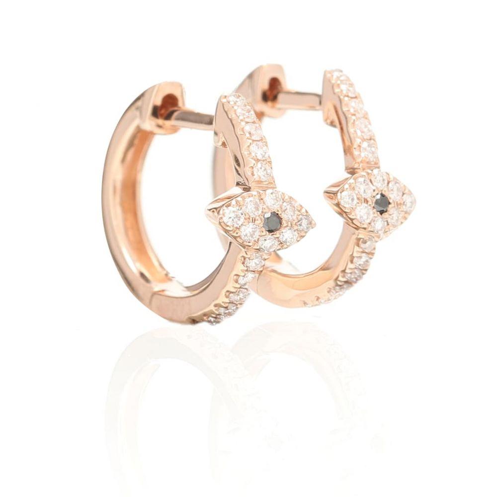 ジャッキーアイチェ Jacquie Aiche レディース イヤリング・ピアス ジュエリー・アクセサリー【Pave Eye Mini 14kt rose gold hoop earrings with diamonds】