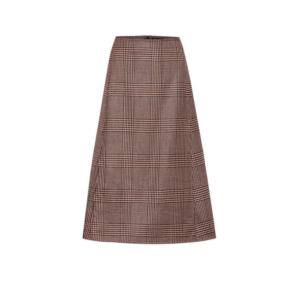 ロロピアーナ Loro Piana レディース ひざ丈スカート スカート【Checked stretch-wool midi skirt】Brown
