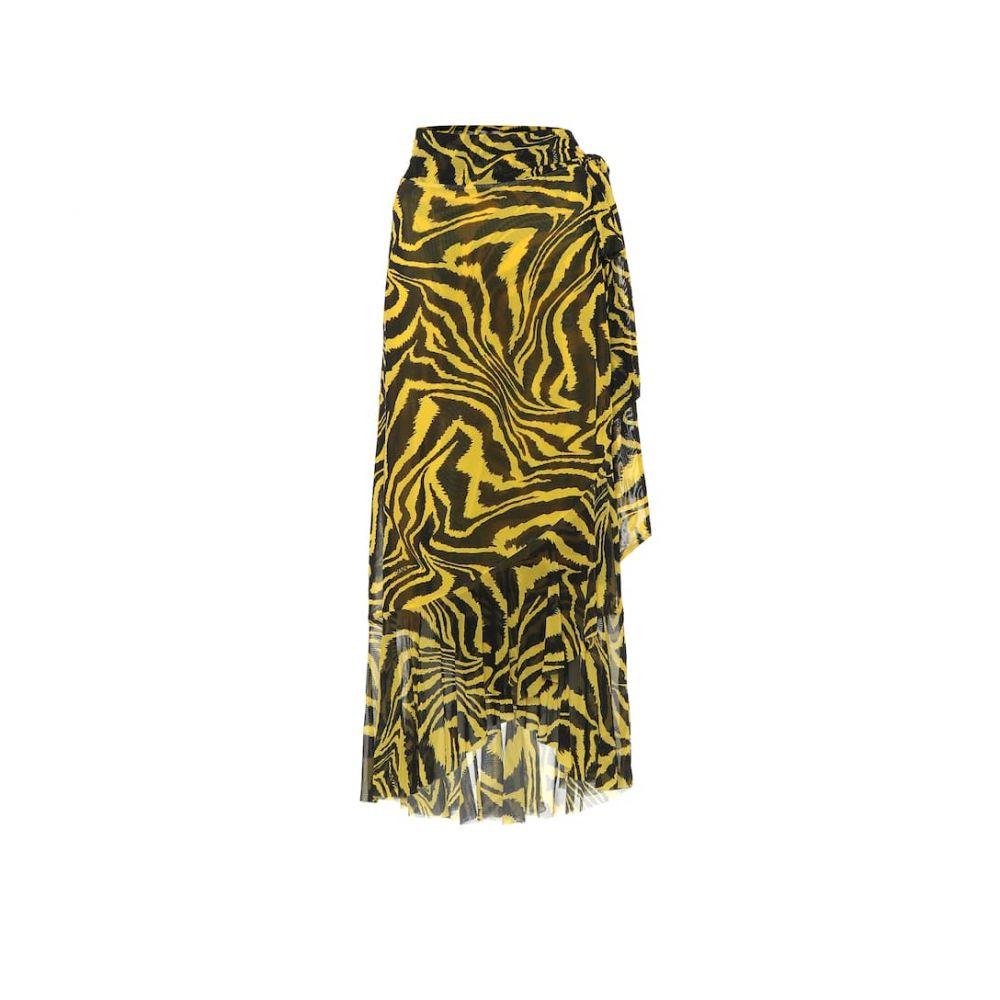 ガニー Ganni レディース ひざ丈スカート ラップスカート スカート【Animal-print wrap skirt】Lemon