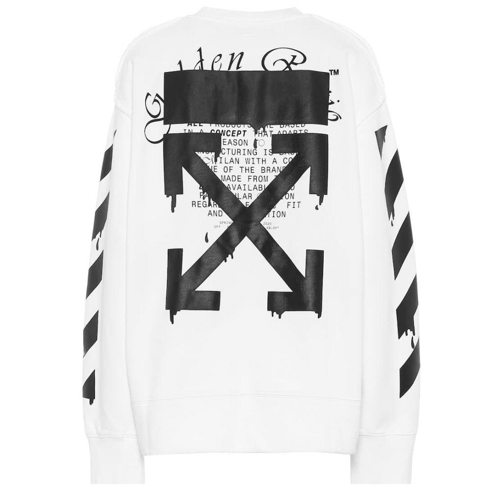 オフホワイト Off-White レディース スウェット・トレーナー トップス【Printed cotton sweatshirt】White Black