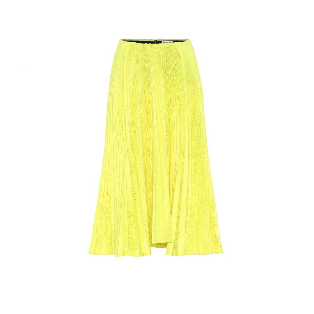 バレンシアガ Balenciaga レディース ひざ丈スカート スカート【Satin-jacquard pleated midi skirt】Fluo Yellow