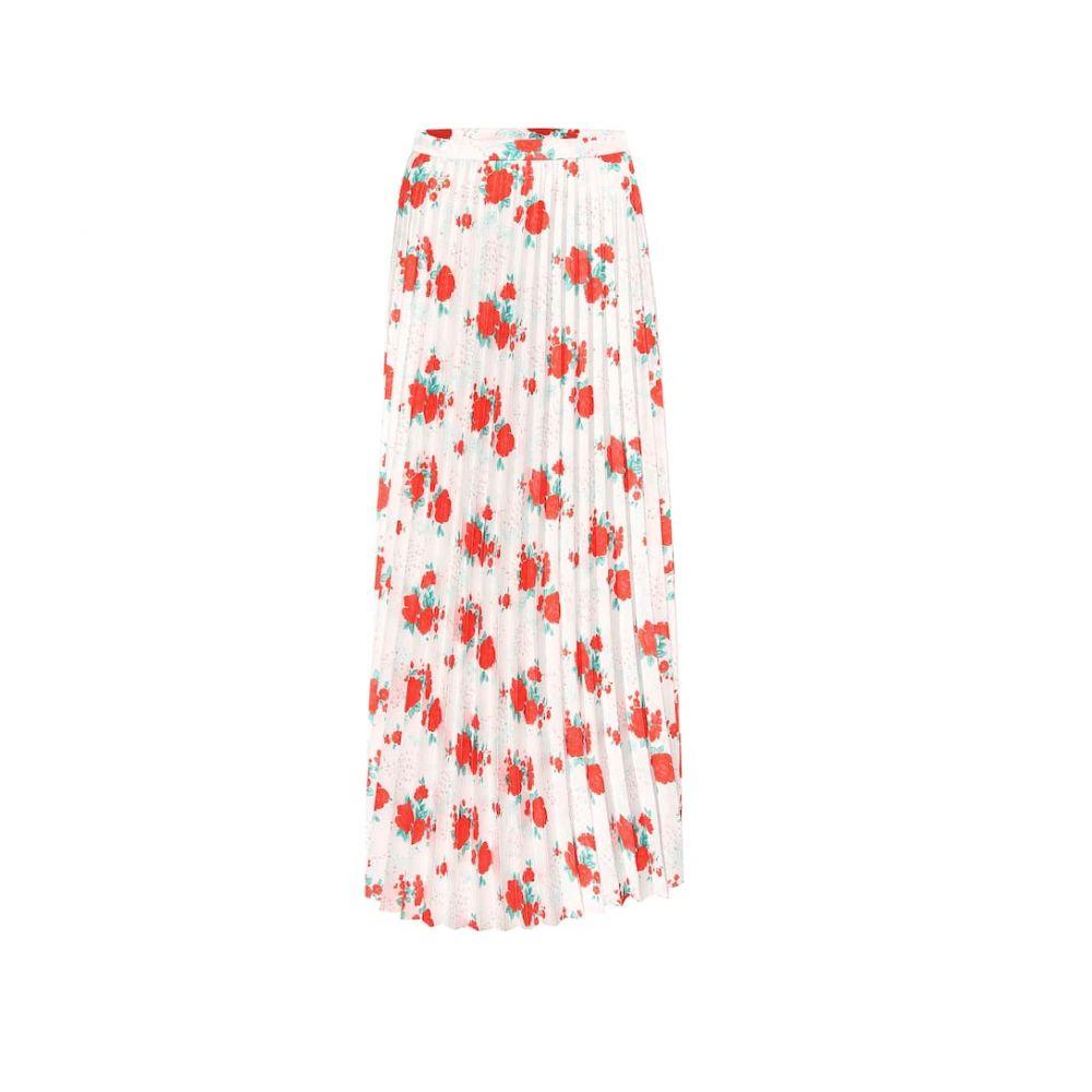 ヴェトモン Vetements レディース ひざ丈スカート スカート【Floral plisse twill midi skirt】Red/White Flowers