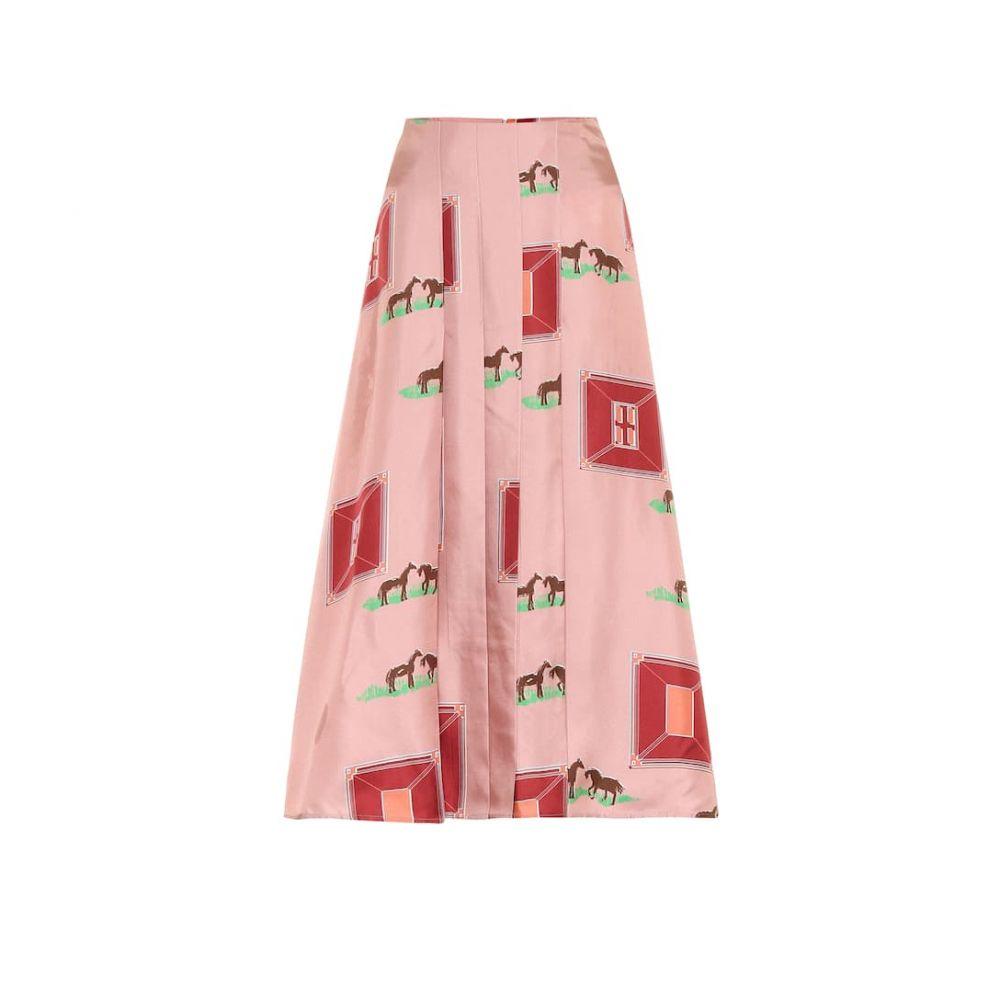 ヴィクトリア ベッカム Victoria Beckham レディース ひざ丈スカート スカート【Printed silk midi skirt】Pink/Bordeaux