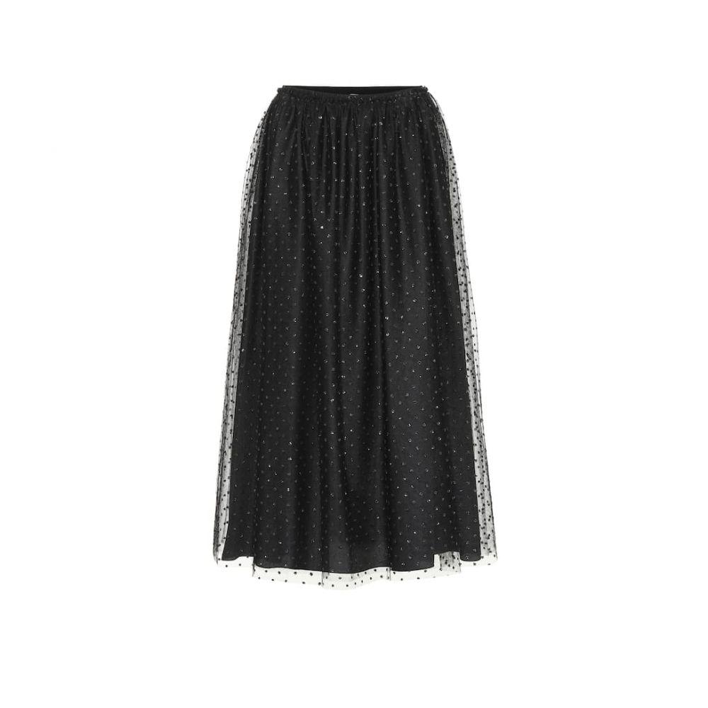レッド ヴァレンティノ REDValentino レディース ひざ丈スカート スカート【Dotted tulle midi skirt】Black