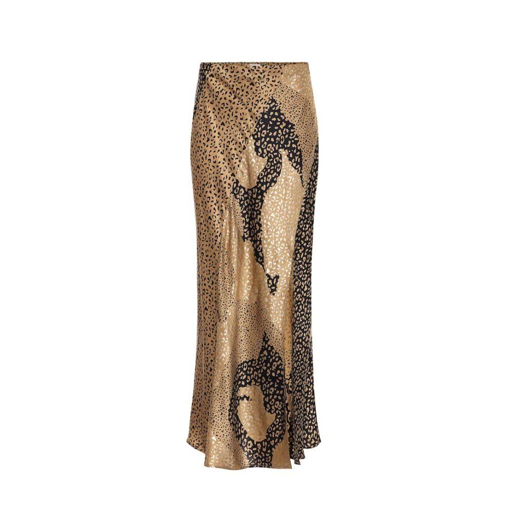 リキソ Rixo レディース ひざ丈スカート スカート【Parker leopard-print silk midi skirt】Gold Leo