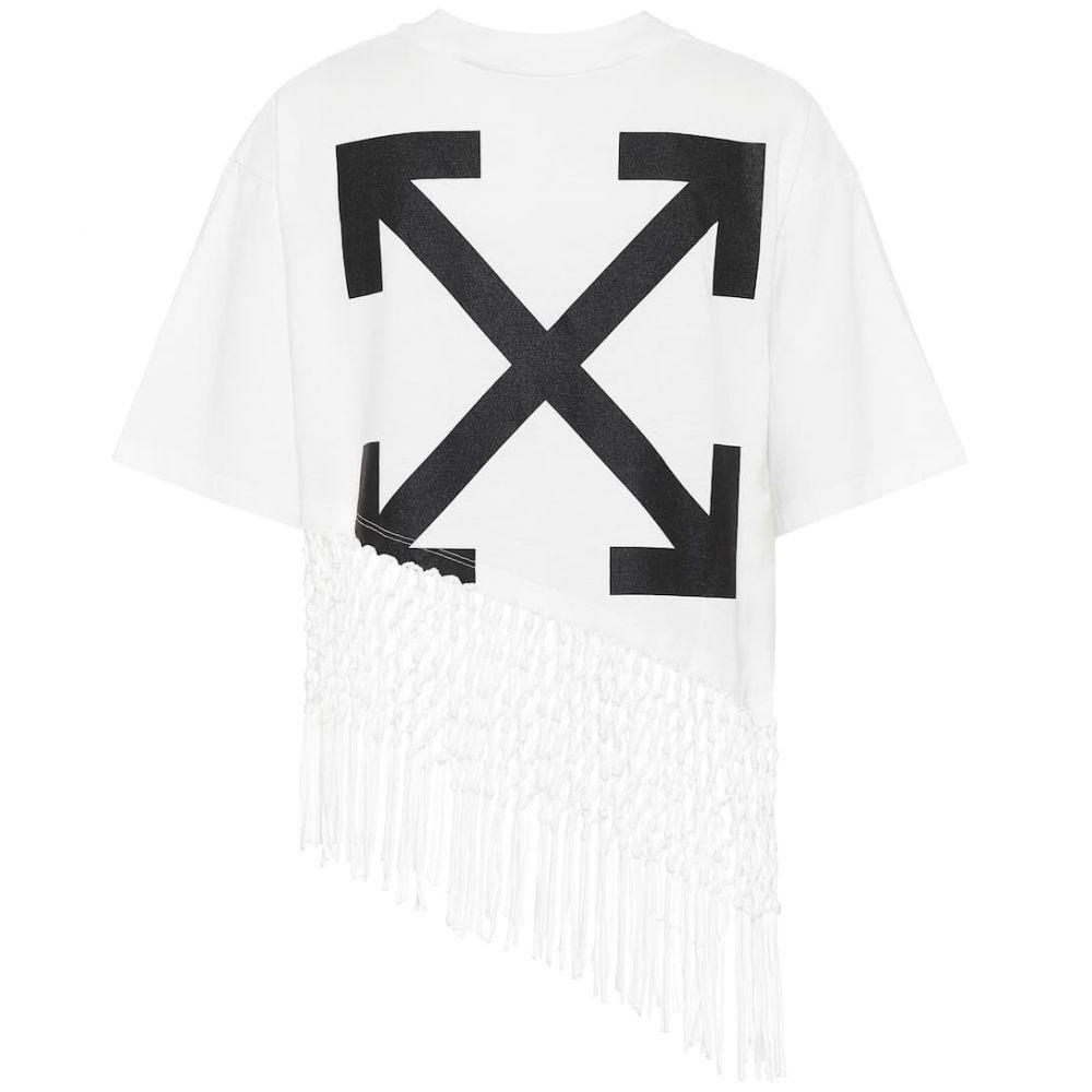 オフホワイト Off-White レディース Tシャツ トップス【Printed cotton-jersey T-shirt】White Black