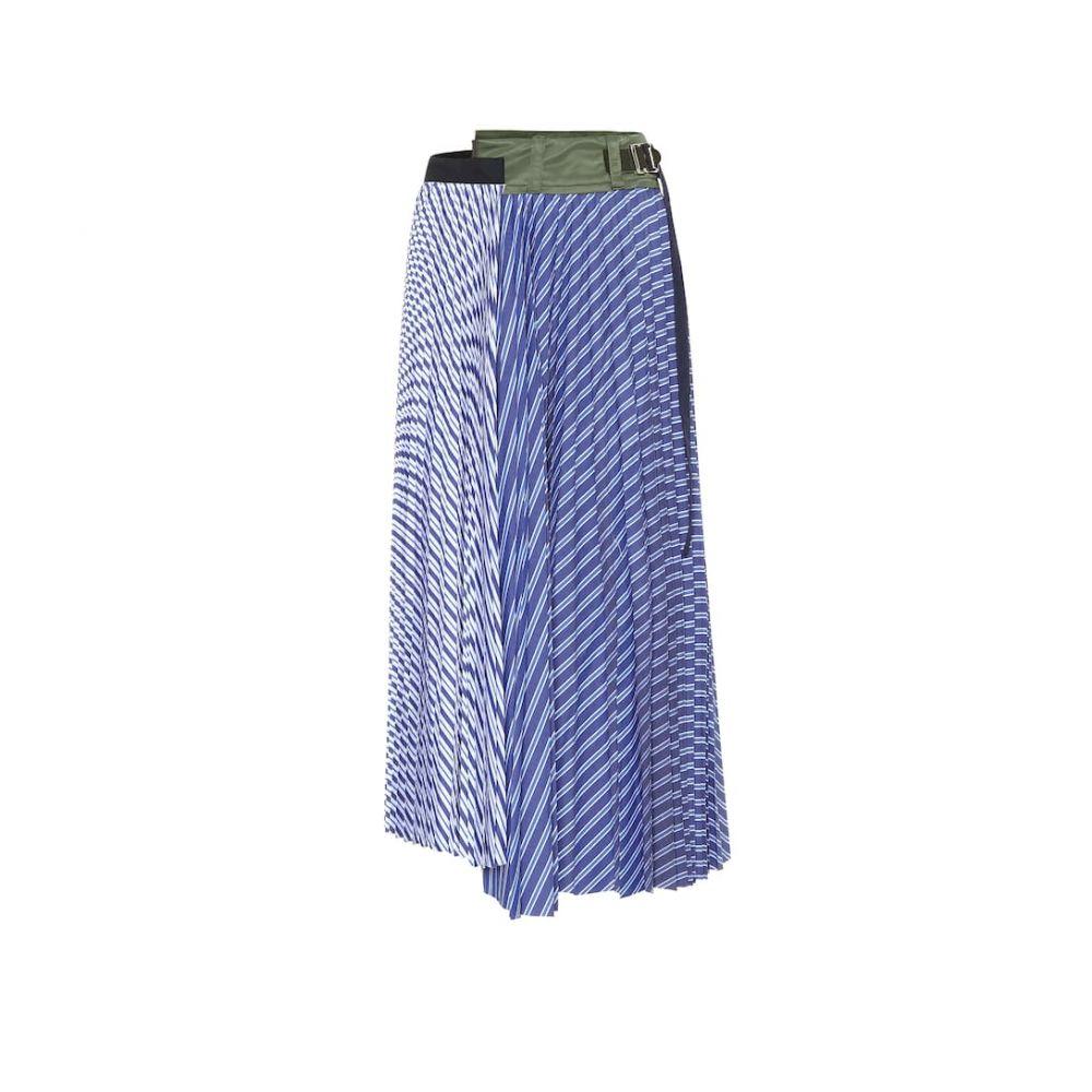 サカイ Sacai レディース ひざ丈スカート スカート【Striped cotton poplin pleated skirt】Stripe
