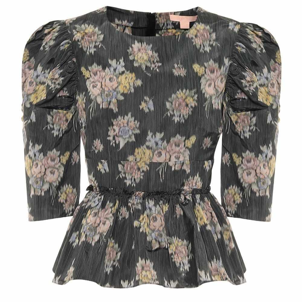 ブロック コレクション Brock Collection レディース ブラウス・シャツ トップス【Floral peplum blouse】Black
