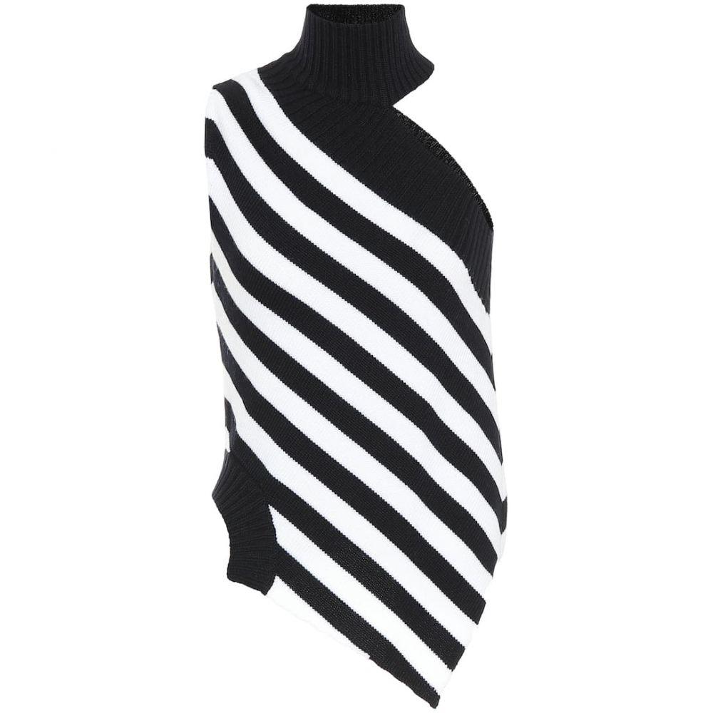 モンス Monse レディース ニット・セーター ワンショルダー トップス【One-shoulder striped wool sweater】Midnight/Ivory