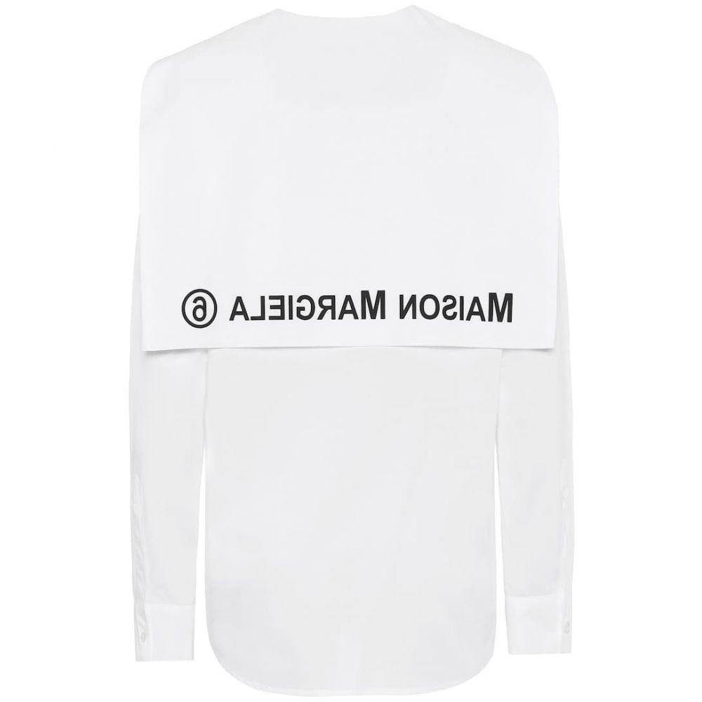 メゾン マルジェラ MM6 Maison Margiela レディース ブラウス・シャツ トップス【Logo cotton-poplin shirt】White