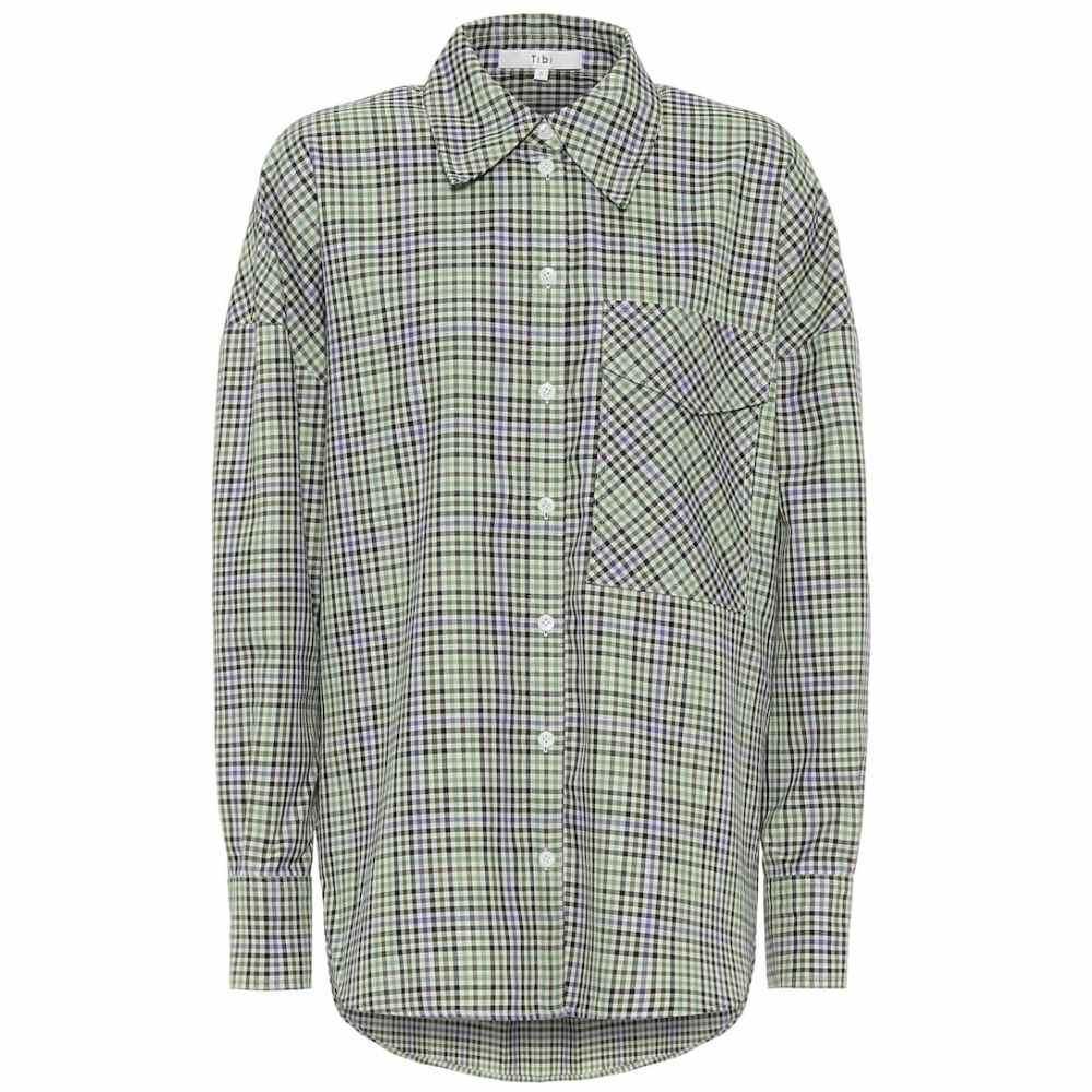 ティビ Tibi レディース ブラウス・シャツ トップス【Checked shirt】Green/Beige Multi