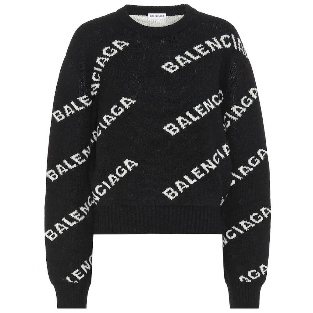 バレンシアガ Balenciaga レディース ニット・セーター トップス【Logo intarsia wool sweater】Black/White