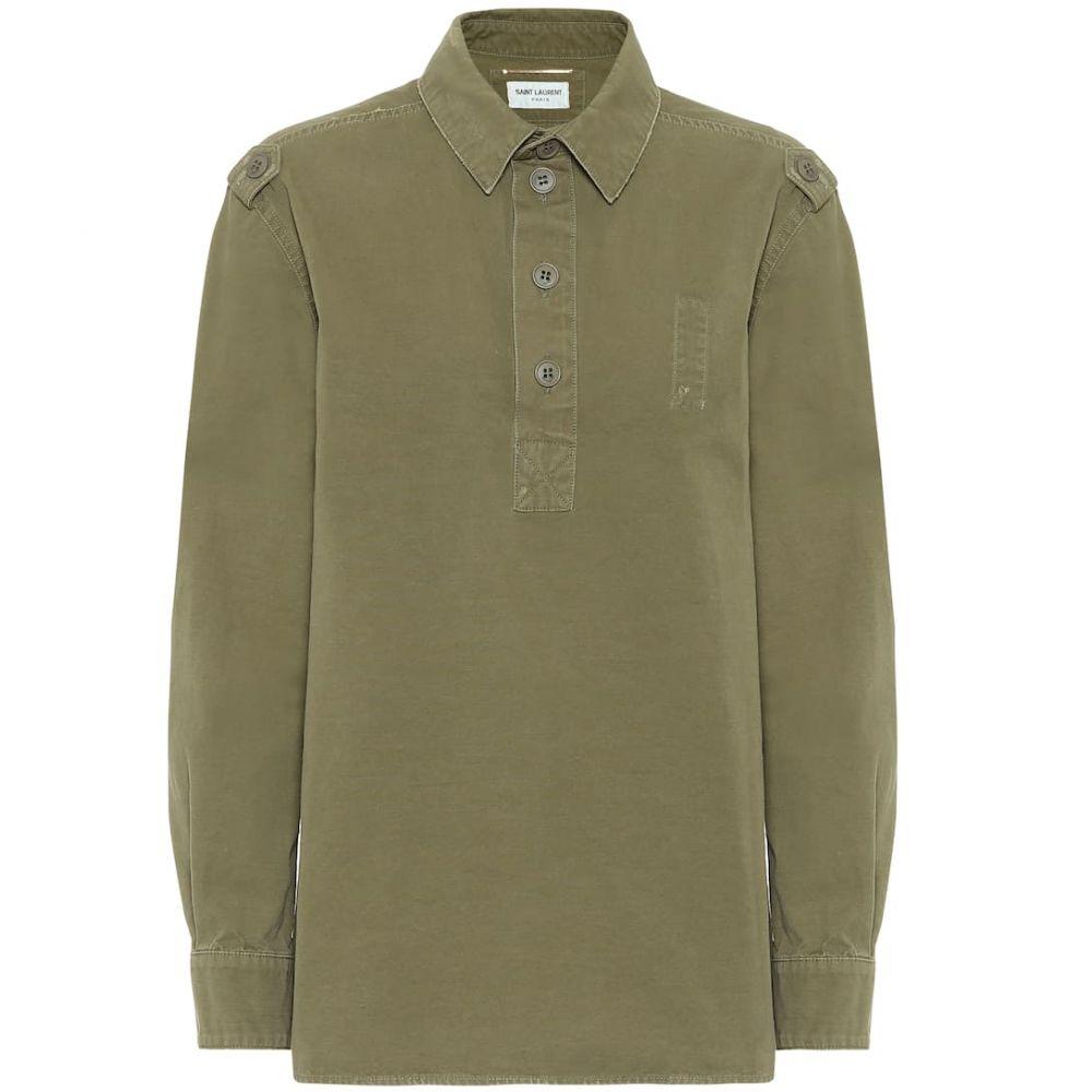 イヴ サンローラン Saint Laurent レディース ブラウス・シャツ トップス【Cotton shirt】Kaki