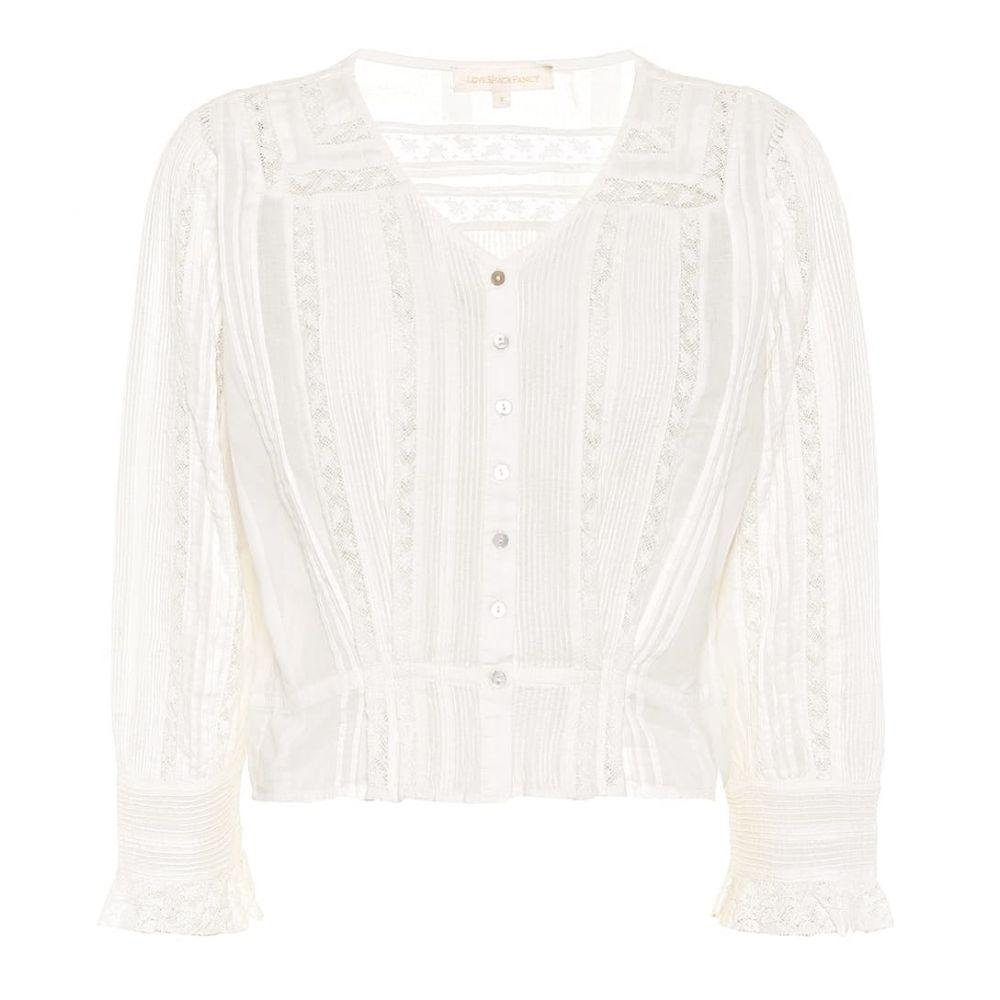 ラブシャックファンシー LoveShackFancy レディース ブラウス・シャツ トップス【Aubrielle cotton blouse】Antique White