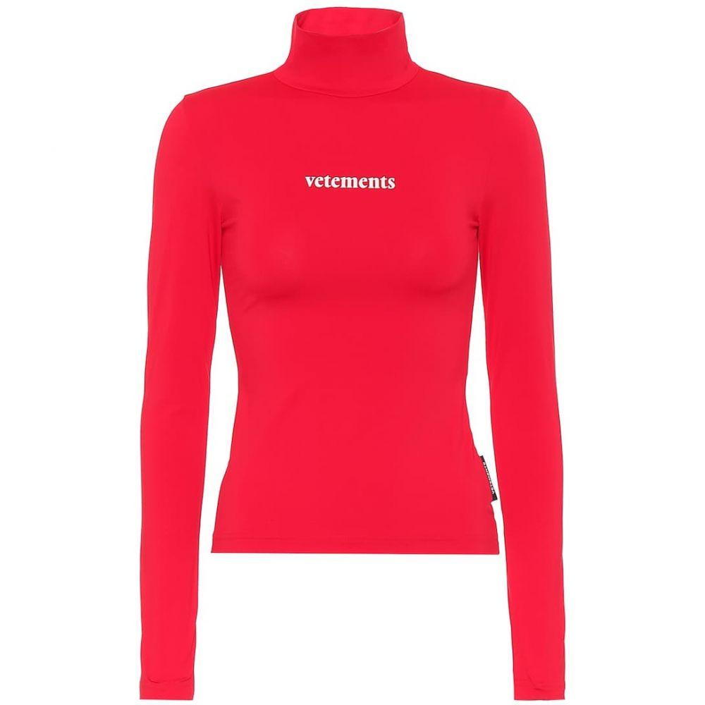 トップス Vetements レディース top】Red 【Logo turtleneck ヴェトモン