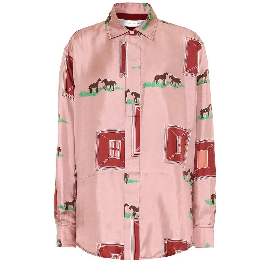 ヴィクトリア ベッカム Victoria Beckham レディース ブラウス・シャツ トップス【Printed silk shirt】Pink/Bordeaux