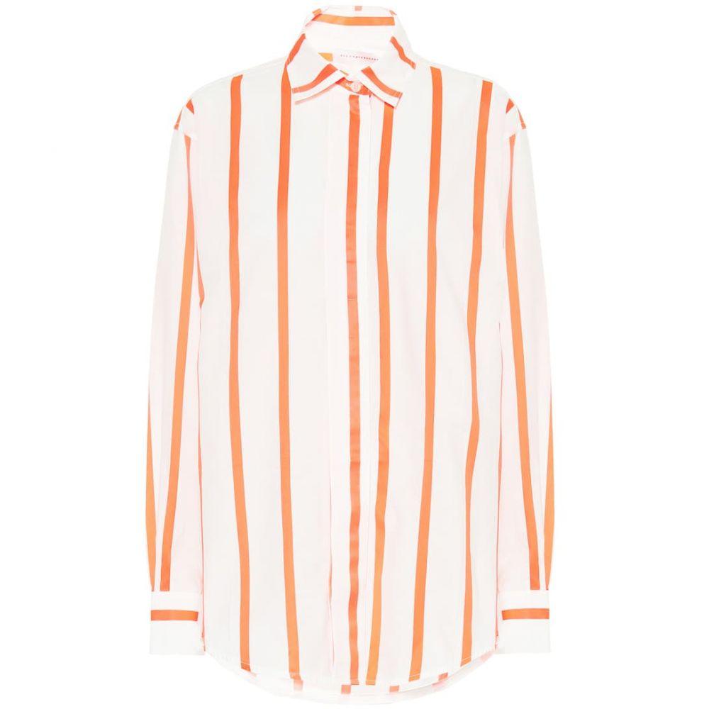 ヴィクトリア ベッカム Victoria Beckham レディース ブラウス・シャツ トップス【Striped cotton-blend shirt】White/Fluro Orange