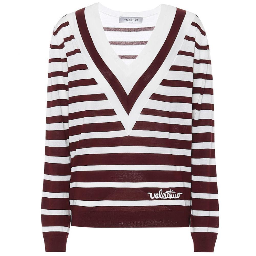 ヴァレンティノ Valentino レディース ニット・セーター トップス【Striped virgin wool sweater】Red Wine/Avorio