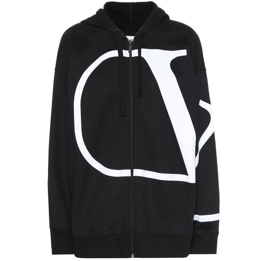 ヴァレンティノ Valentino レディース パーカー トップス【VLOGO cotton-blend zip-up hoodie】Nero/Bianco