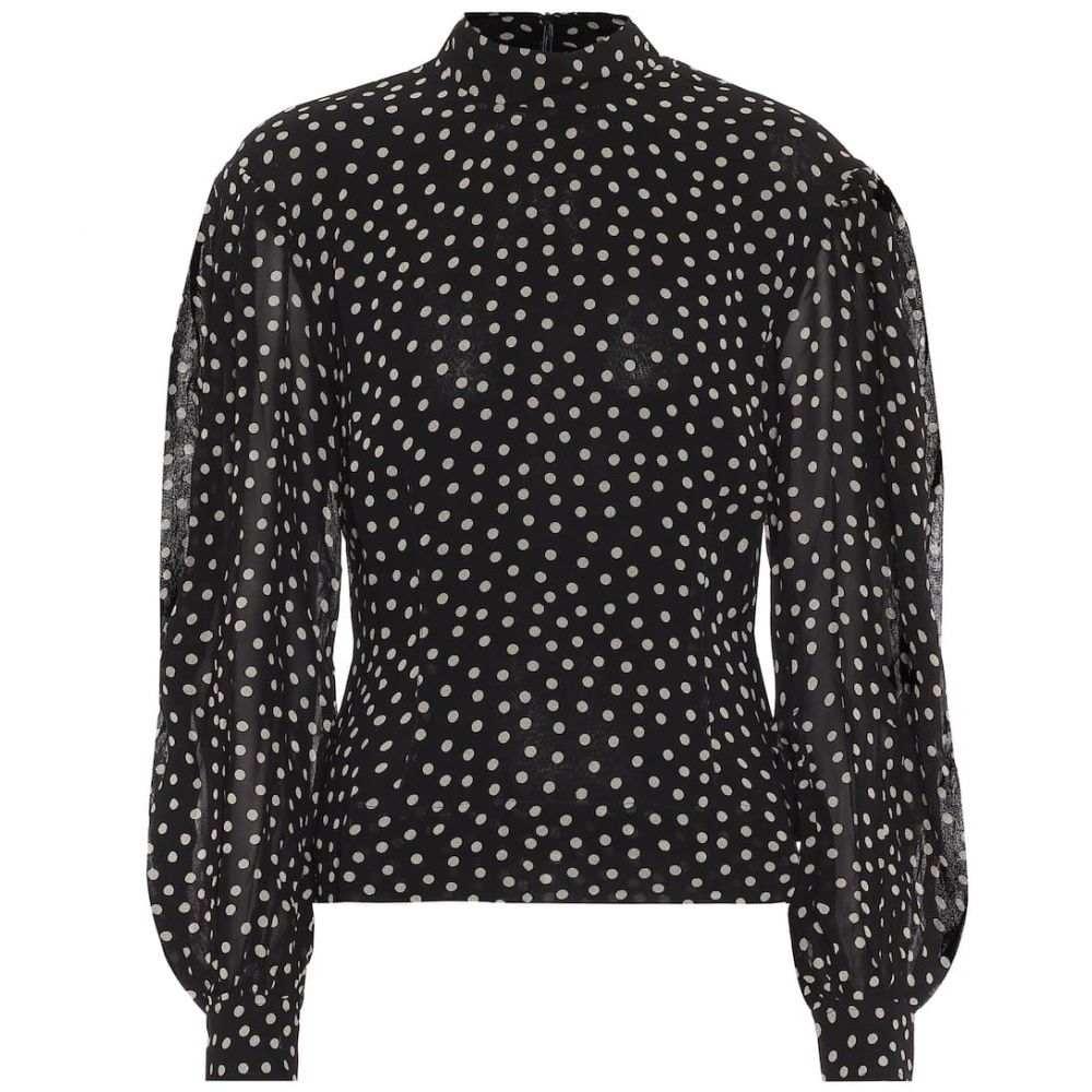 ガニー Ganni レディース ブラウス・シャツ トップス【Polka-dot crepe blouse】Black