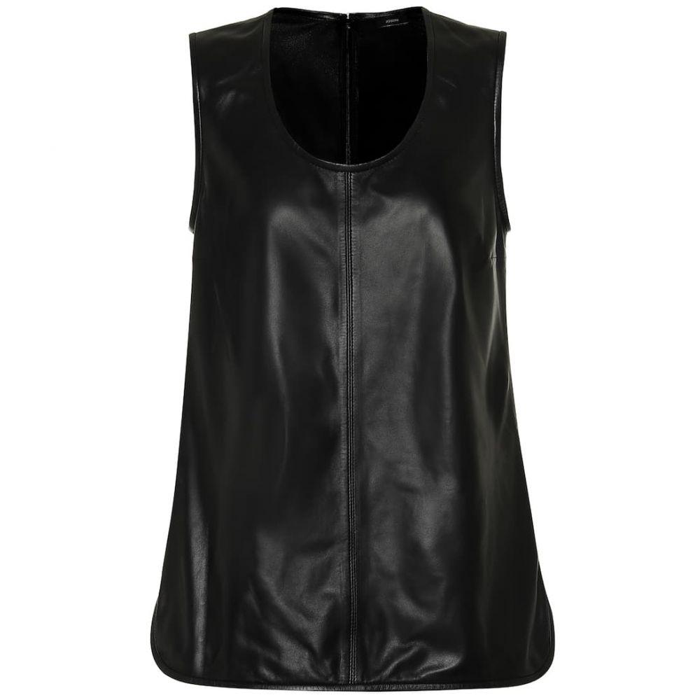 ジョゼフ Joseph レディース タンクトップ トップス【Leather tank top】Black