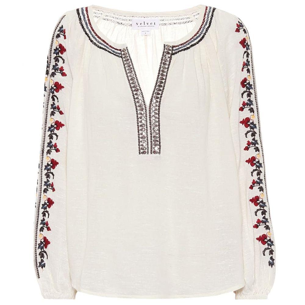 ベルベット グラハム&スペンサー Velvet レディース ブラウス・シャツ トップス【Hunter embroidered blouse】Off White
