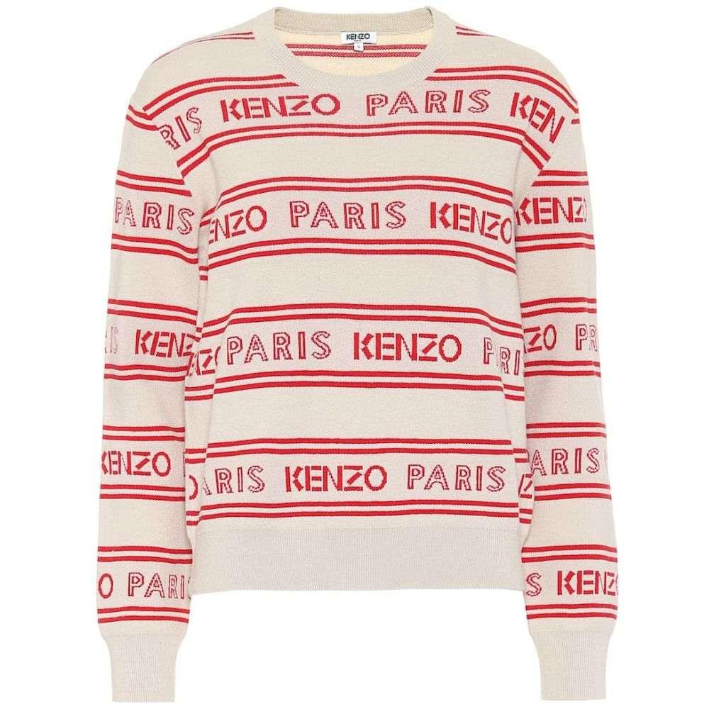 ケンゾー Kenzo レディース ニット・セーター トップス【Logo jacquard cotton-blend sweater】Off White