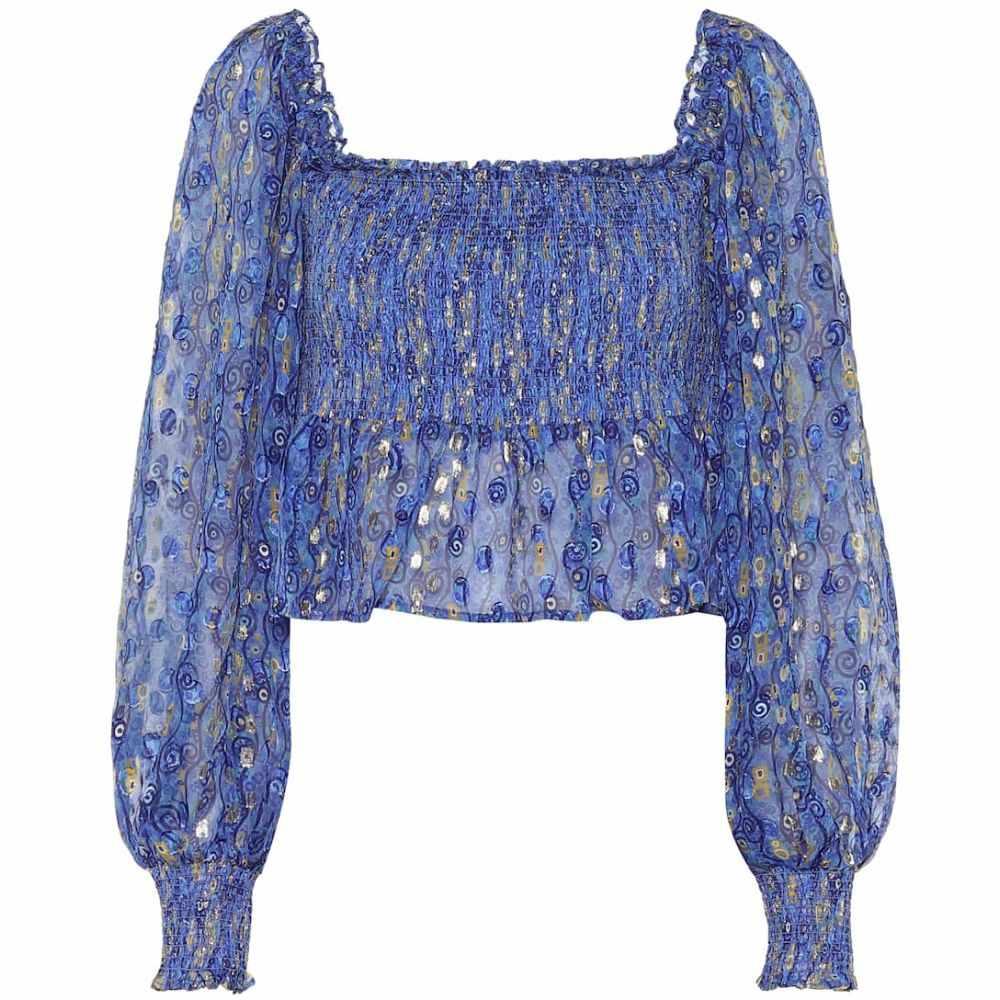 リキソ Rixo レディース ブラウス・シャツ トップス【Eloise printed silk lame blouse】Blue Gold