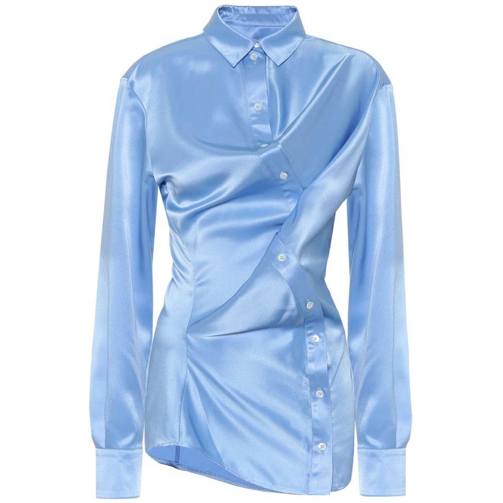 ワイプロジェクト Y/PROJECT レディース ブラウス・シャツ トップス【Satin shirt】Light Blue