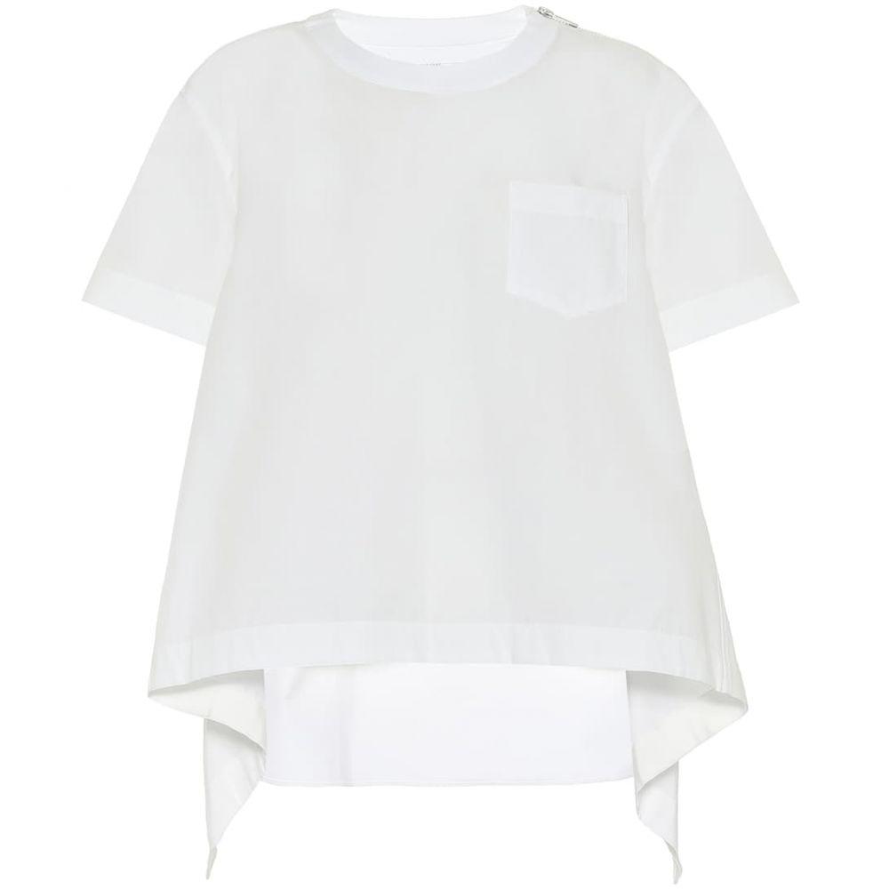 サカイ Sacai レディース ブラウス・シャツ トップス【Cotton-blend poplin blouse】White