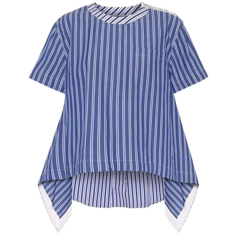 サカイ Sacai レディース ブラウス・シャツ トップス【Striped cotton-blend poplin blouse】Stripe