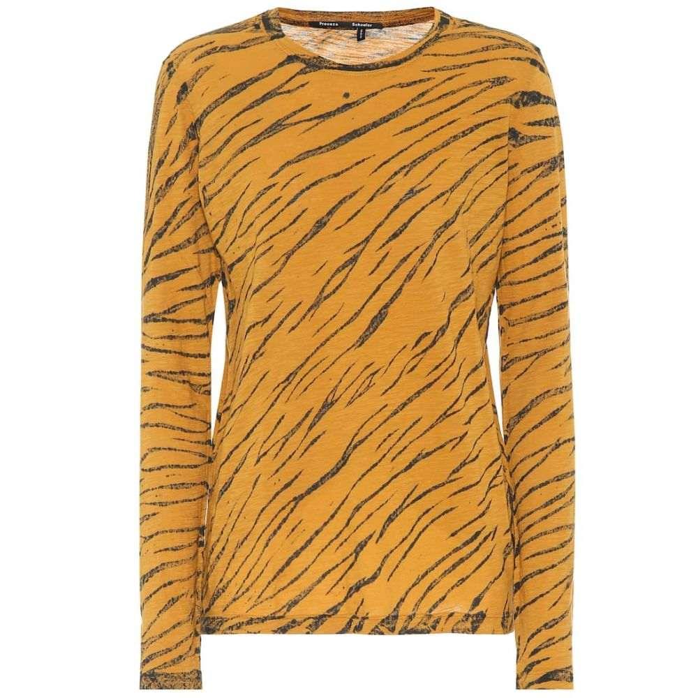 プロエンザ スクーラー Proenza Schouler レディース 長袖Tシャツ トップス【Animal-print cotton T-shirt】Ochre/Black Diagonal