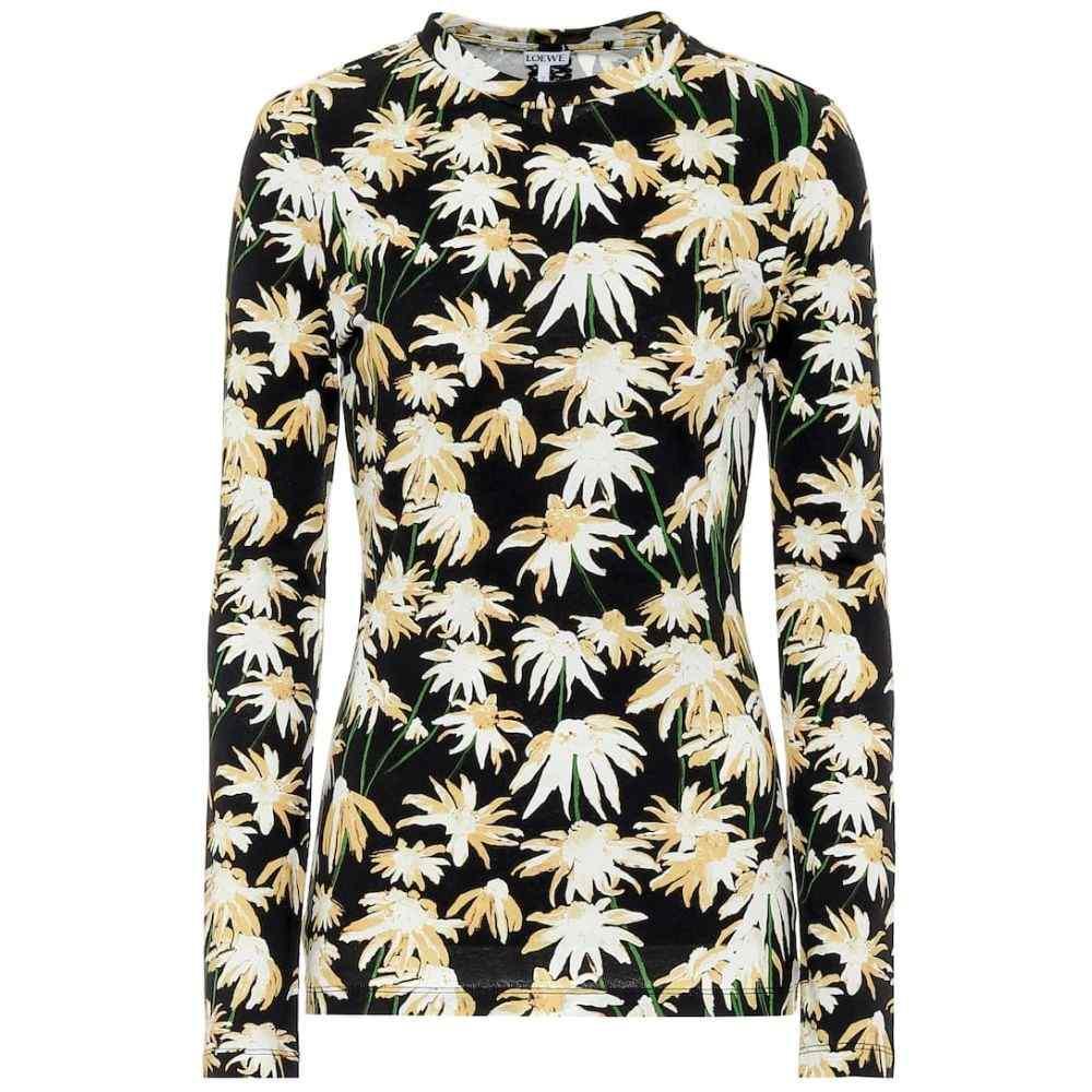 ロエベ Loewe レディース 長袖Tシャツ トップス【Floral cotton T-shirt】Black/Yellow