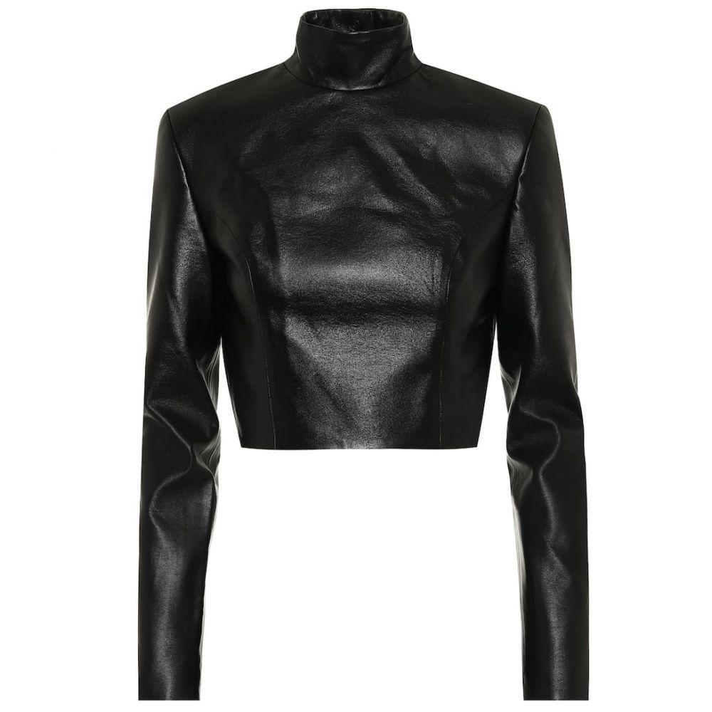 マテリエルティビリシ Materiel Tbilisi レディース ベアトップ・チューブトップ・クロップド トップス【Faux-leather crop top】Black