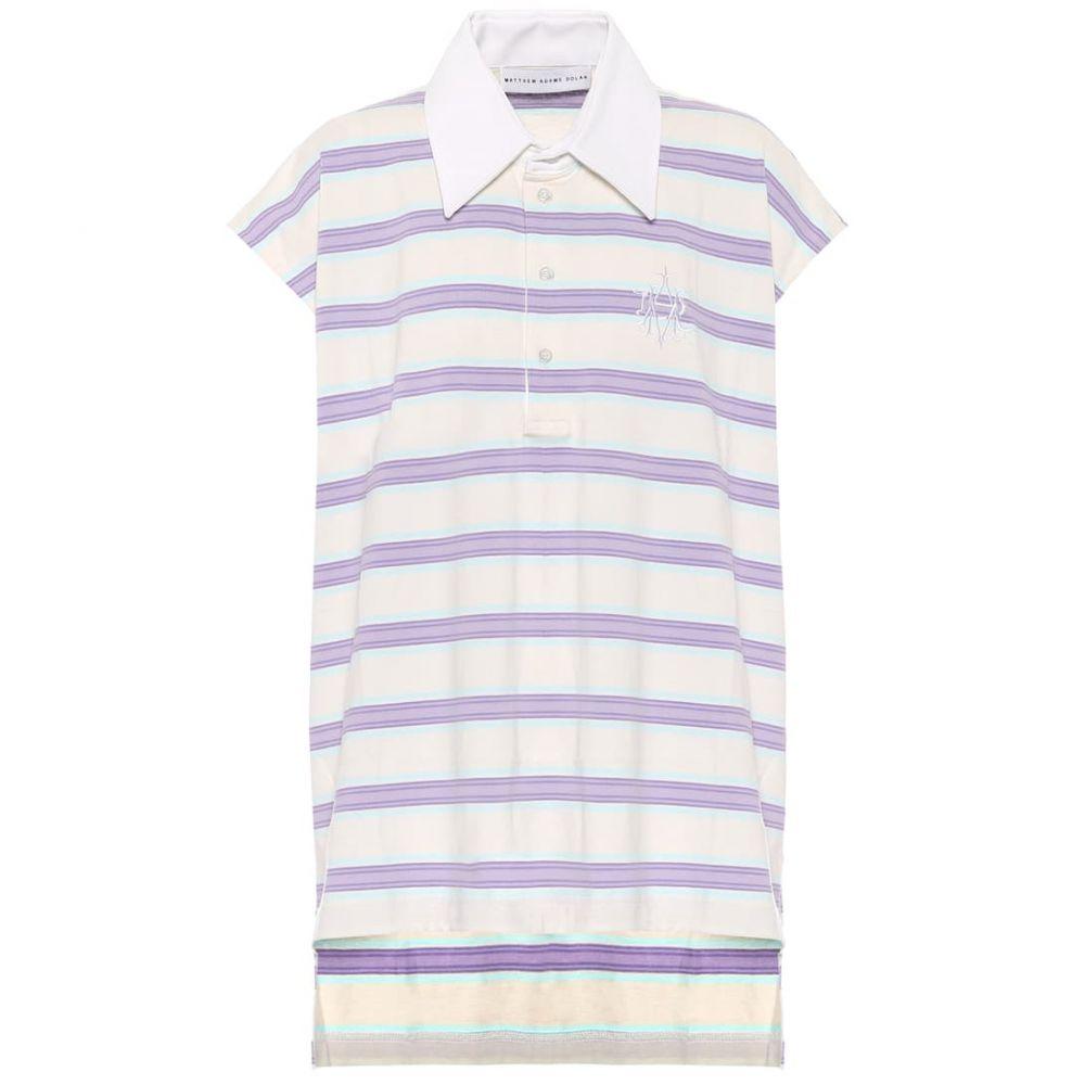 マシュー アダムズ ドーラン Matthew Adams Dolan レディース ポロシャツ ポロシャツ トップス【Sleeveless striped cotton polo shirt】Mini Mix Intonaco/Lilac